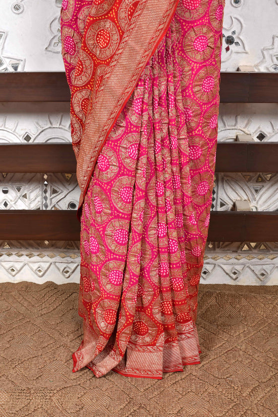 Circular Woven Banarasi Bandhani Saree - Hot Pink + Red