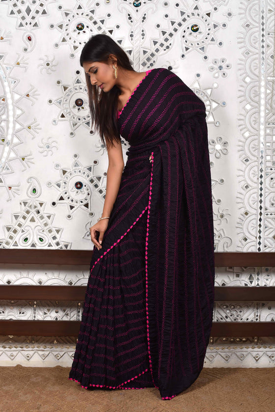 Black Bandhani Gaji Silk Saree