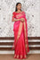 Organza Zari Border Saree with Bandhani Gota Patti Blouse - Pinkish Red