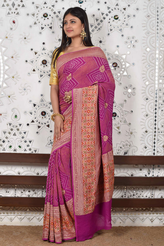 Broad Border Meenakari Banarasi Bandhani Saree - Purple