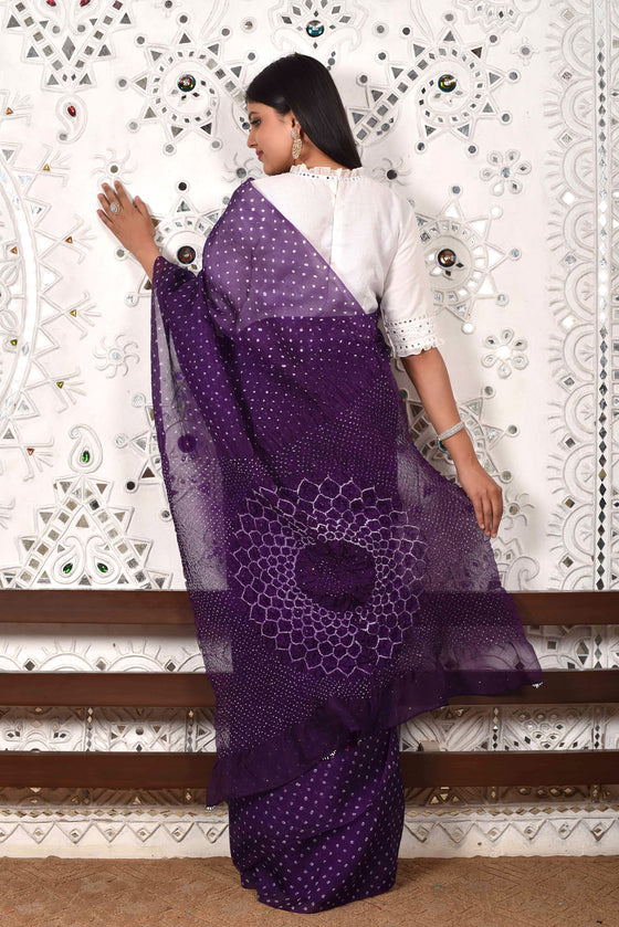 Bandhani on Organza with Pattern on Pallu - Purple