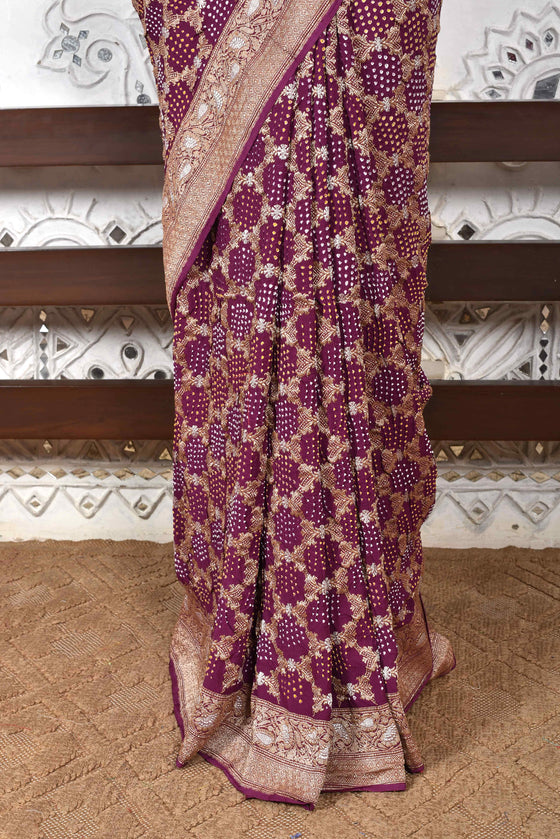 Classic Gharchola Saree in Wine