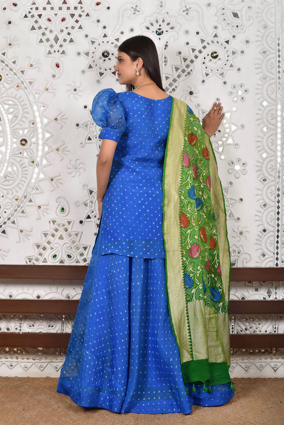 Bandhani on Pure Organza Lehenga Set in Blue