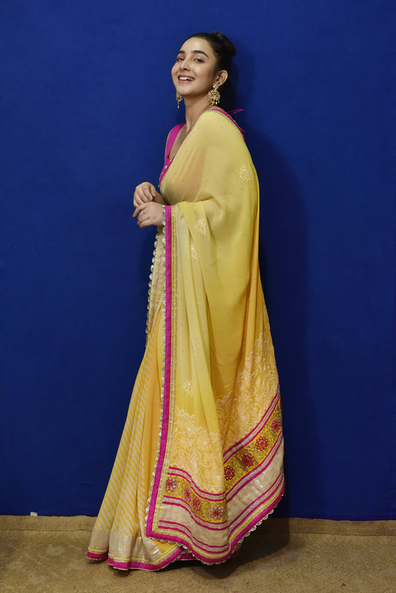 Half Leheriya Half Chikankari Saree in Yellow