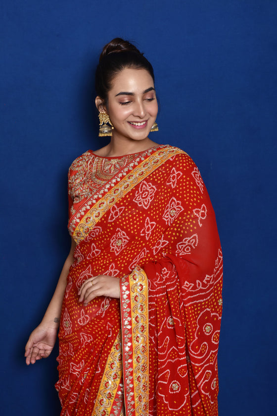 Half Bandhani Half Chikankari Saree - Yellow + Red