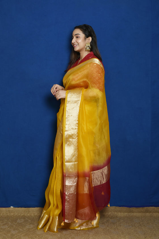 Organza Saree with Zari Border - Yellow