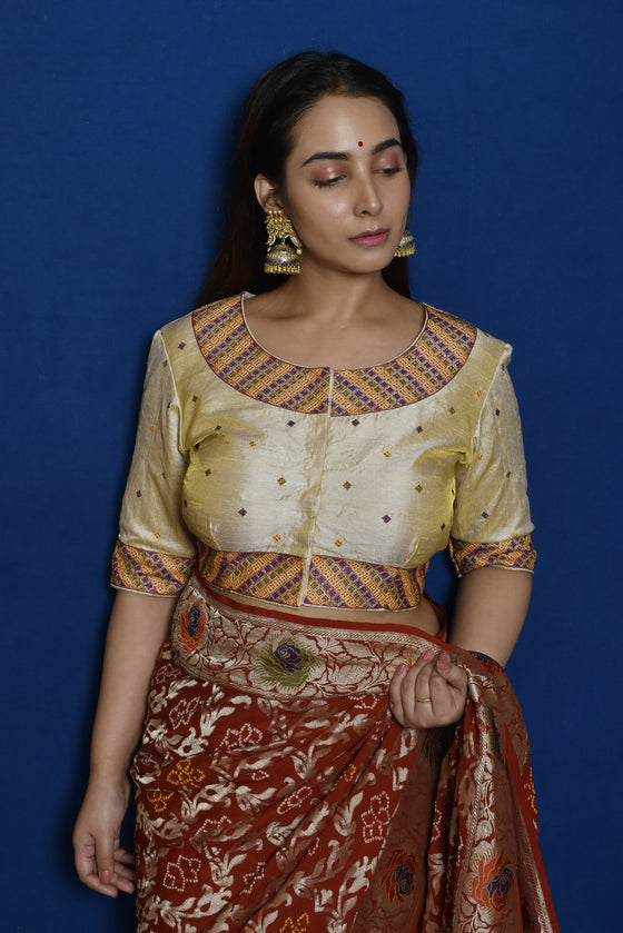Cream Raw Silk Aari Hand Embroidered Blouse