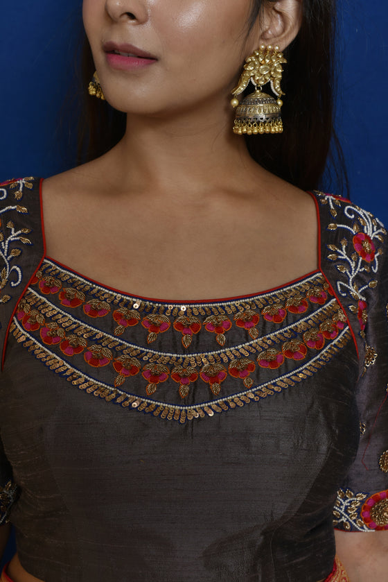 Grey Raw Silk Embroidered Blouse