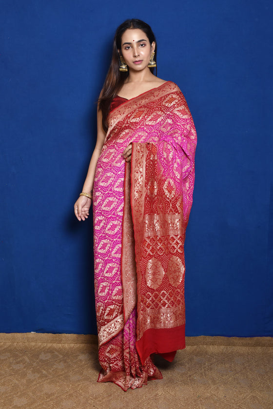 Hot Pink + Red Banarasi Bandhani Saree
