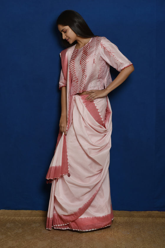 Pure Silk Saree with Bandhani Edging - Pink