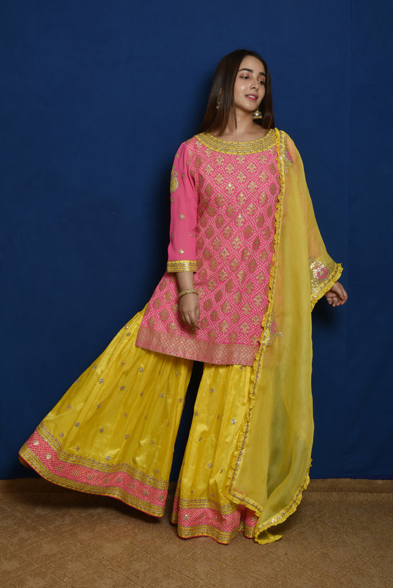 Pink Yellow Gota Patti Garara Set