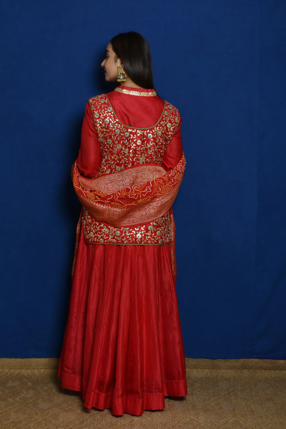 Gota Patti Kothi + Anarkali -  Red