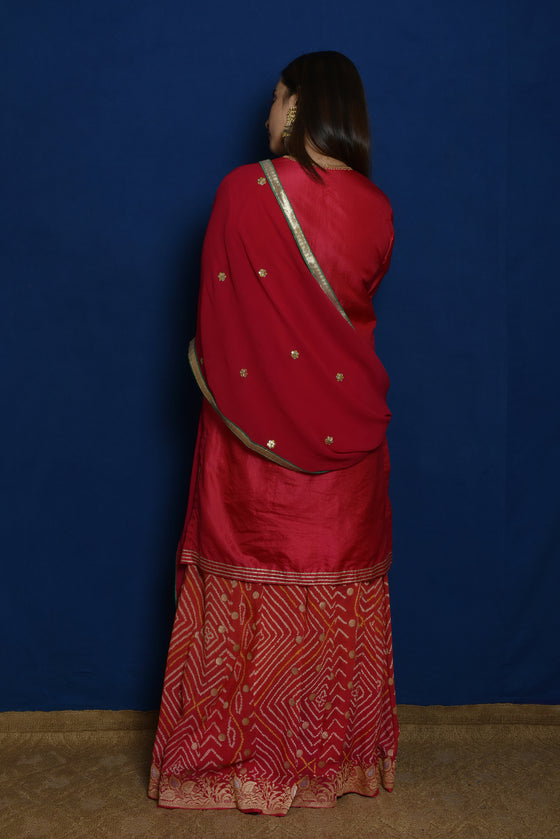 Gota Patti Suit Set in Red