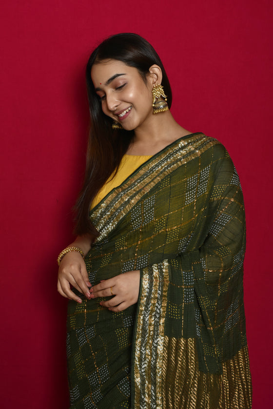 Geometric Patterned Zari Kota and Bandhani Saree in Bottle Green