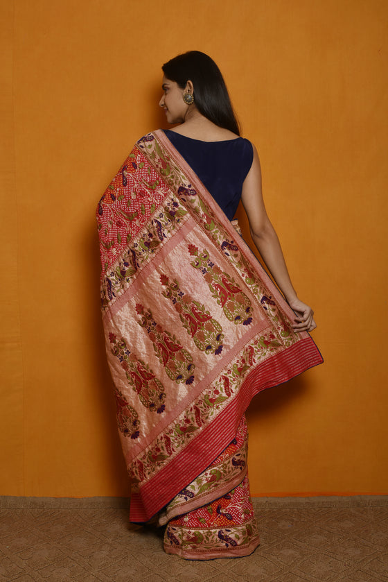 Meenakari Bandhani Saree in a Lovely Red