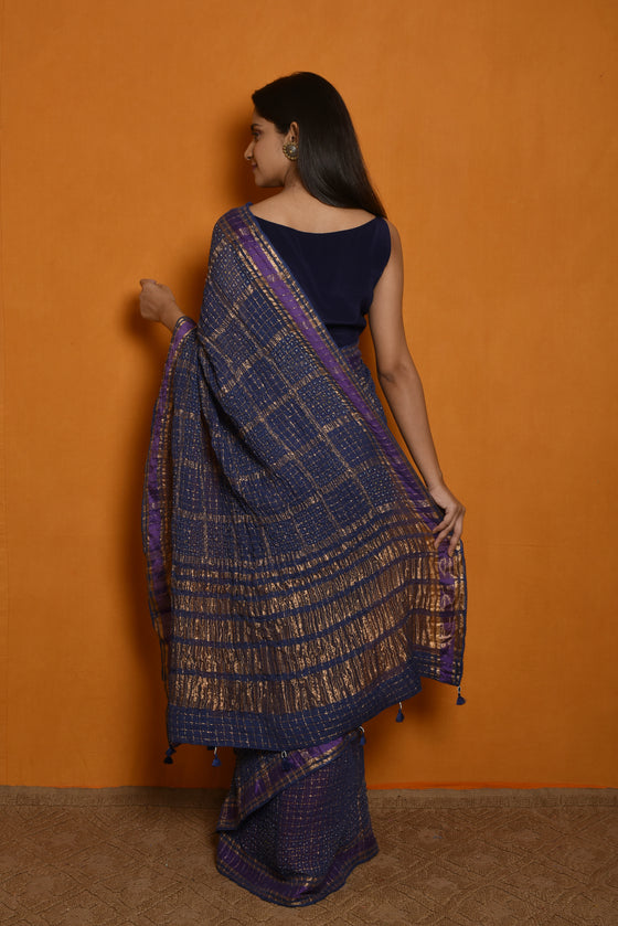 Gharchola Inspired Pure Zari Kota Saree with Bandhani - Blue