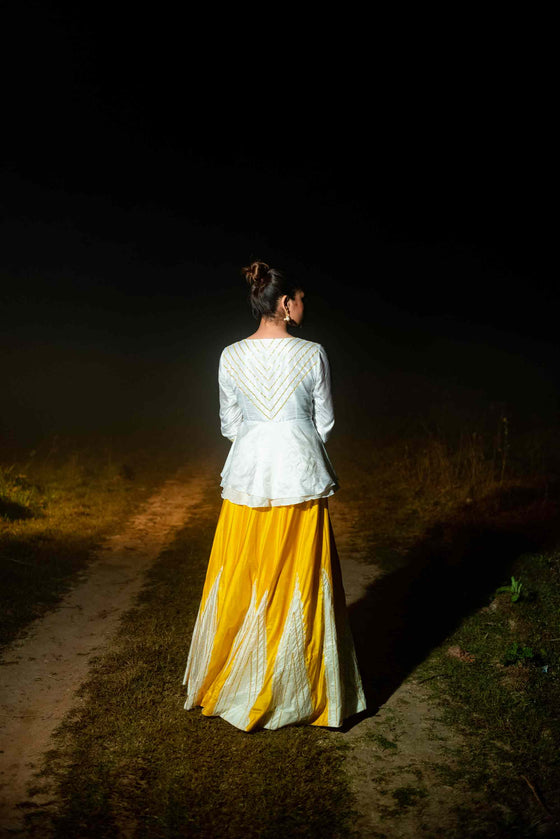 Taara Lehenga - White and Yellow