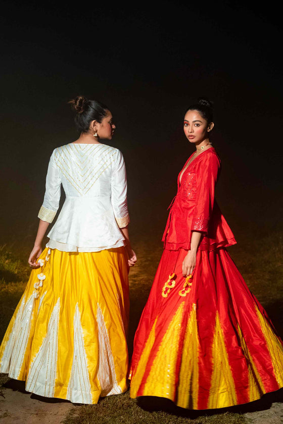 Taara Lehenga - Red and Yellow