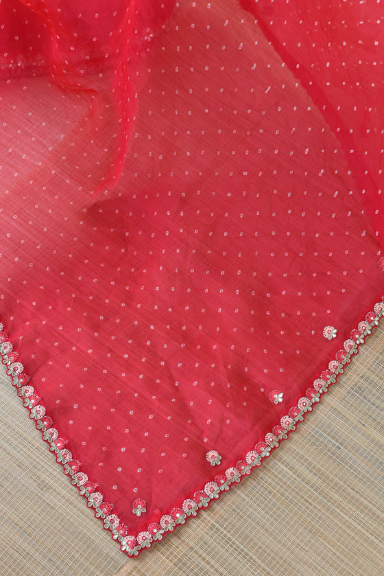 Tomato Pink Red Bandhani on Organza Saree with Gota Patti