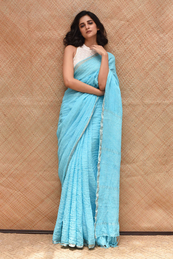 Sky Blue Bandhani on Linen Sari