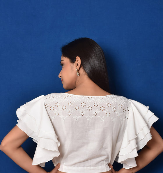 Bell Sleeves Hakoba Blouse in White