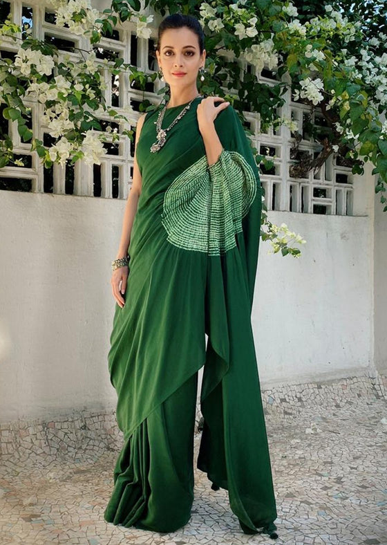 Bottle Green Handsfree Saree