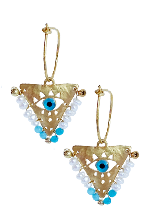 Filaxto Earrings in Turquoise and White