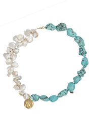 Athena Pearl & Turquoise Necklace