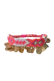 Friendship Bracelet with Coins in Pink