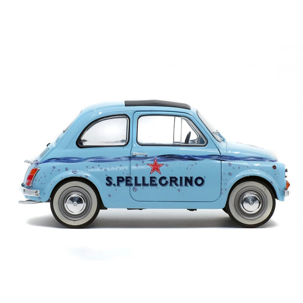 Solido Fiat 500 San Pellegrino 1:18 Scale Model - Light Blue - Walt Grace Vintage