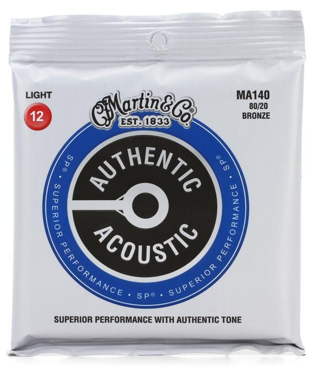 Martin MA140 Authentic Acoustic Superior Performance Guitar Strings - 80/20 Light 12's - Walt Grace Vintage