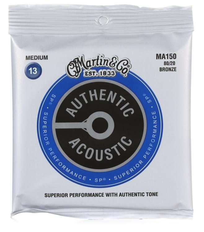 Martin MA150 Authentic Acoustic Superior Performance Guitar Strings - 80/20 Medium 13's - Walt Grace Vintage