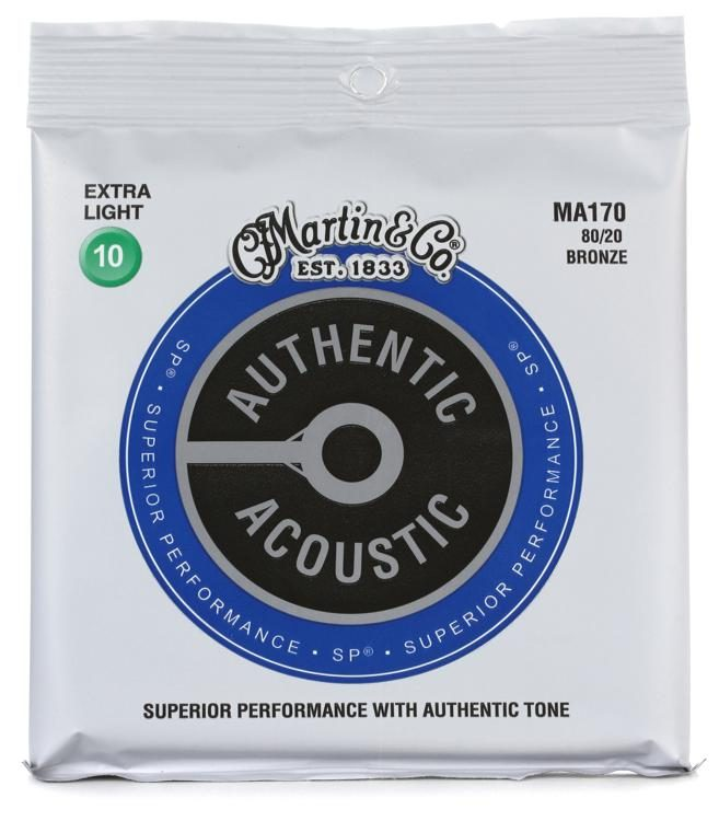 Martin MA170 Authentic Acoustic Superior Performance Guitar Strings - 80/20 Extra Light - Walt Grace Vintage