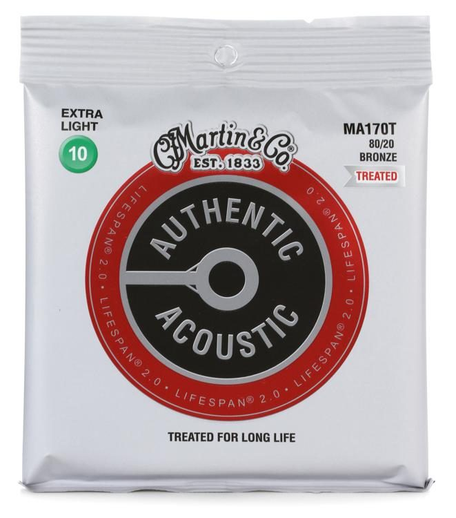 Martin MA170T Authentic Acoustic Lifespan 2.0 Treated Guitar Strings - 80/20 Bronze Extra Light - Walt Grace Vintage