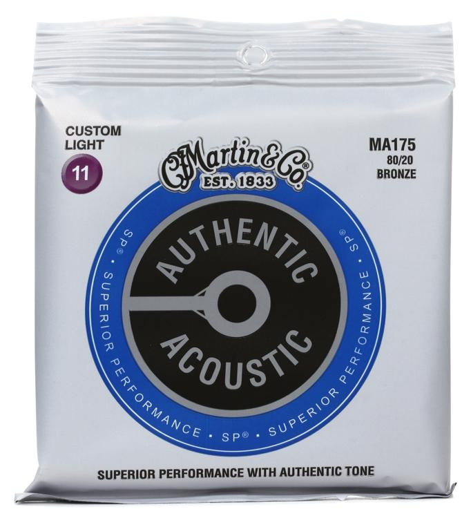 Martin MA175 Authentic Acoustic Superior Performance Guitar Strings - 80/20 Custom Light 11's - Walt Grace Vintage