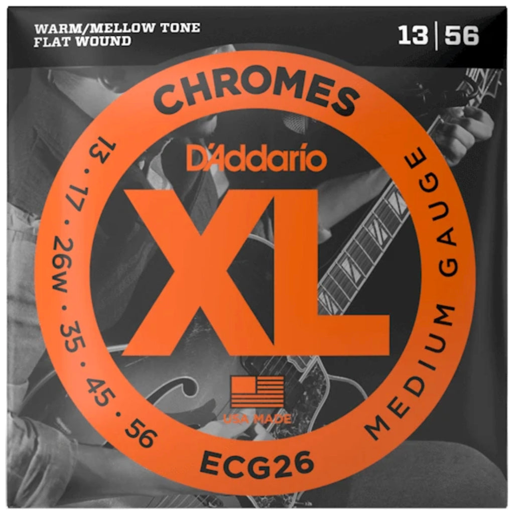 D'Addario - ECG26 XL Chromes Flatwound Electric Guitar Strings 13-56 - Walt Grace Vintage
