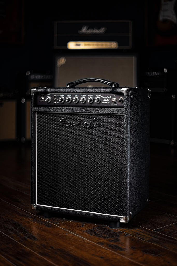 Two-Rock Studio Signature 35 Watt Combo Amp - Black Chassis, Black Bronco, Black Matrix Grill, Silver Knobs - Walt Grace Vintage