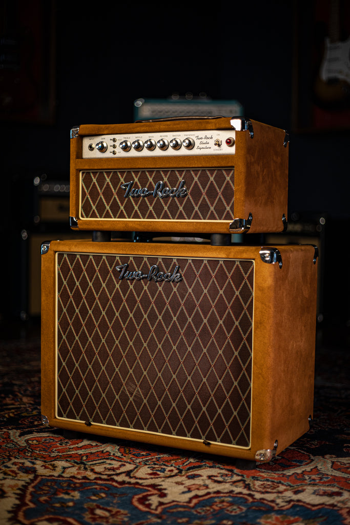 Two-Rock Studio Signature Tobacco Suede 35 Watt Tube Head and 12-65B 1x12 Extension Cabinet - Silver Chassis, Tobacco Suede, Brown Diamond Grill, Silver Knobs