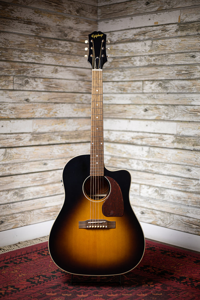 Epiphone J-45 EC Acoustic Electric Guitar - Aged Vintage Sunburst Gloss