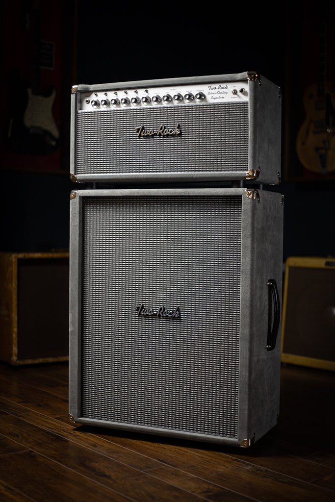 Two-Rock Silver Sterling Signature 150w Tube Head and Cabinet (SSS Width) - Dark Grey Suede, Silver Chassis, Silver Cloth, Silver Knobs