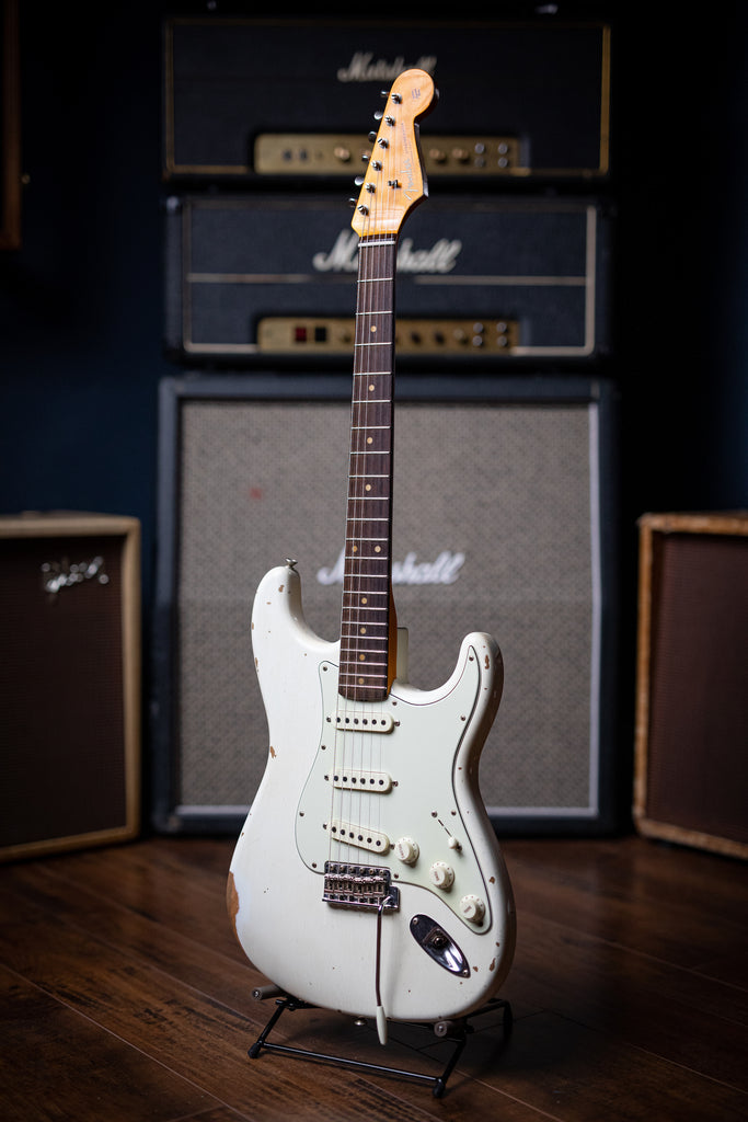 Fender Custom Shop '59 Stratocaster Heavy Relic Electric Guitar - Olympic White - Walt Grace Vintage