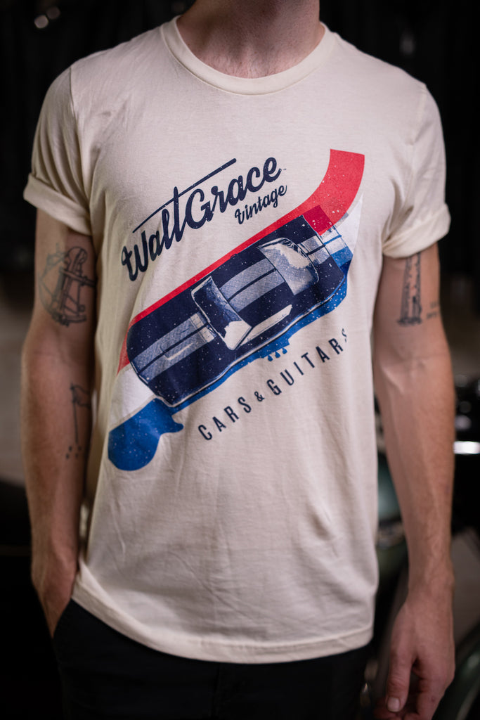 Walt Grace Vintage American Muscle T-Shirt - Cream - Gender Neutral - Walt Grace Vintage