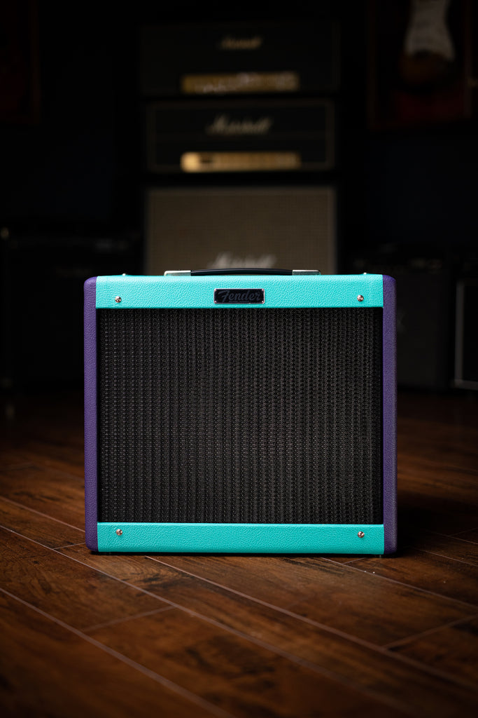 "Fender 2020 Limited Edition Eminence Cannabis Rex Blues Junior IV 15-watt 1x12"" Combo Amp - Seafoam and Purple - Walt Grace Vintage"
