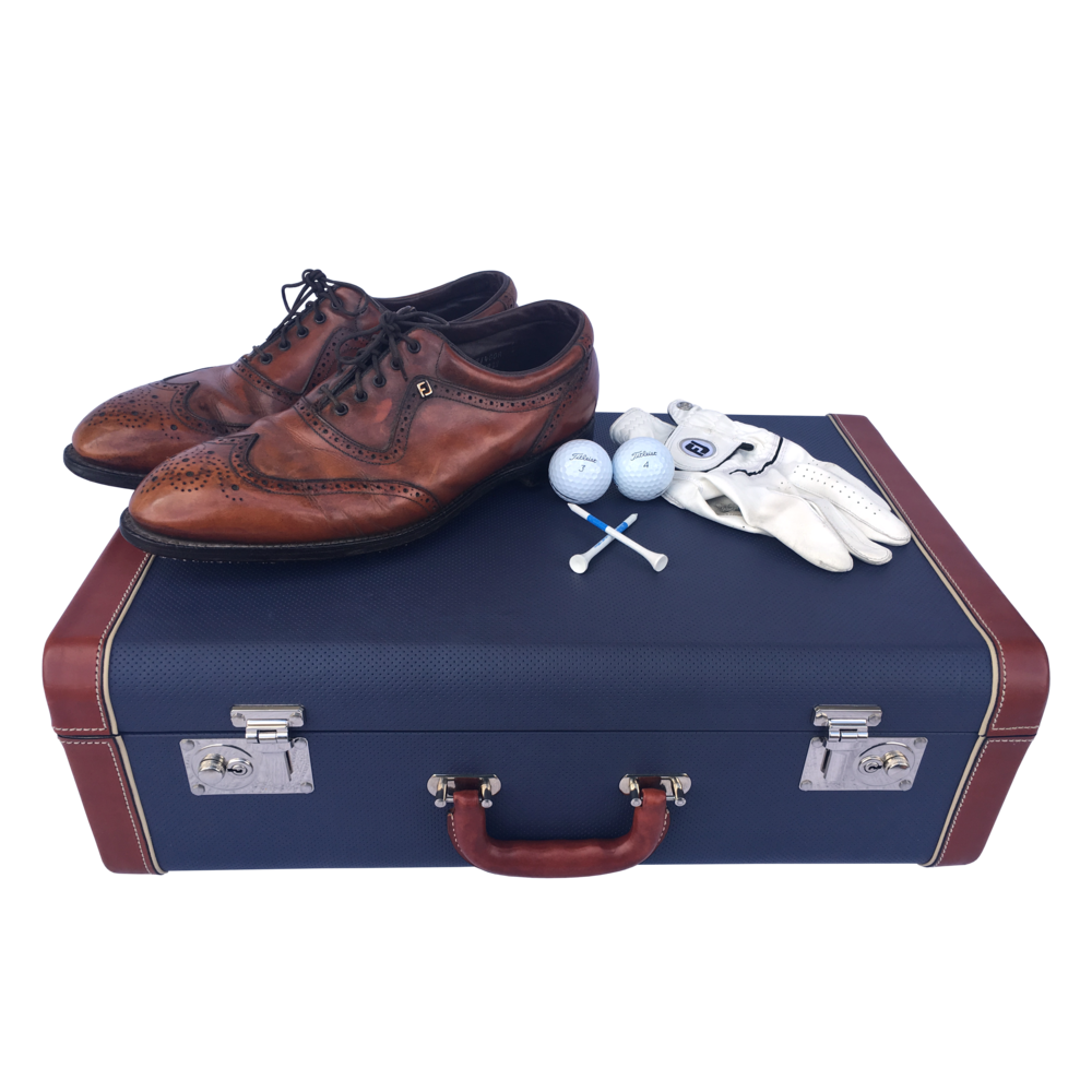 "The Laurence Kenyon Suitcase in ""Sports Car"" Navy Perforated Cowhide - Walt Grace Vintage"