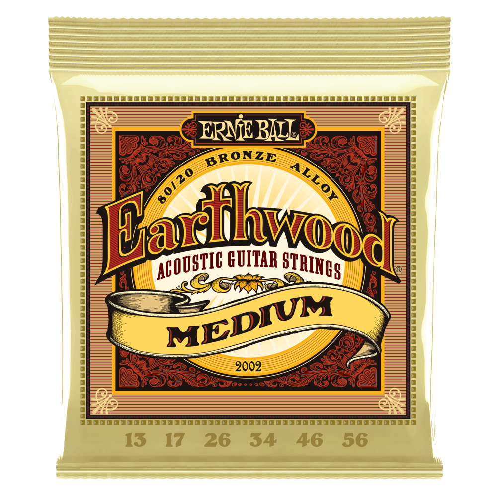 Ernie Ball 2002 Earthwood Medium 80/20 Bronze Acoustic Guitar Strings 13-56 - Walt Grace Vintage