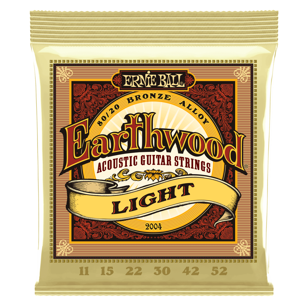 Ernie Ball 2004 Earthwood Light 80/20 Bronze Acoustic Guitar Strings 11-52 - Walt Grace Vintage