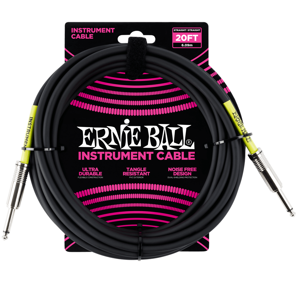 Ernie Ball Instrument Cable 20'  - Black - Walt Grace Vintage