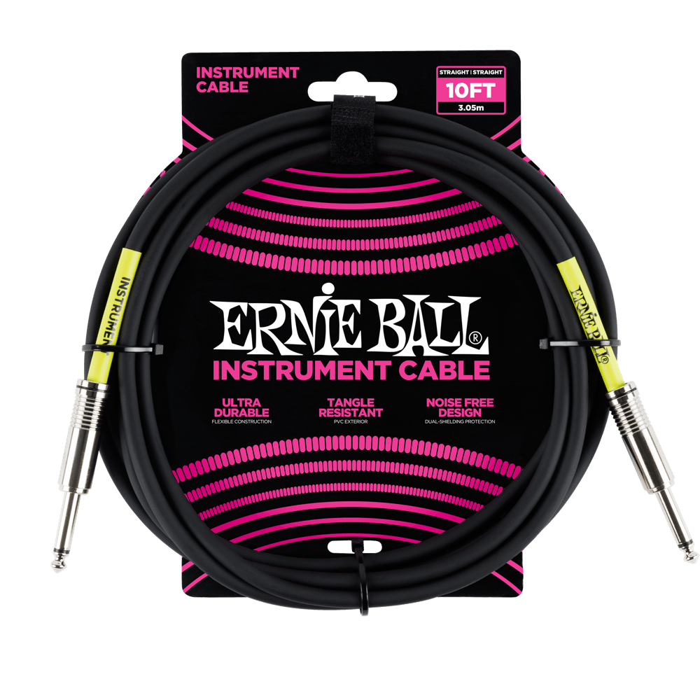 Ernie Ball Instrument Cable 10'  - Black - Walt Grace Vintage