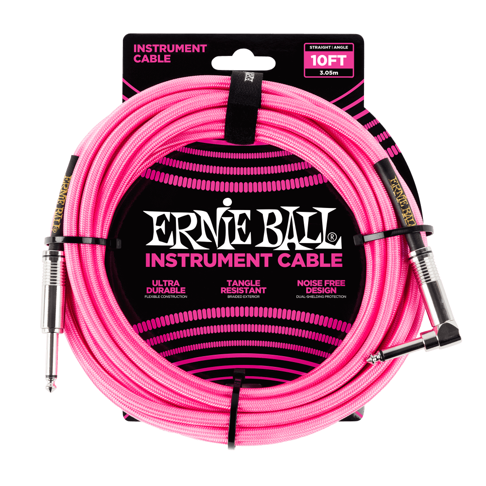 Ernie Ball Braided Instrument Cable 10' - Neon Pink - Walt Grace Vintage