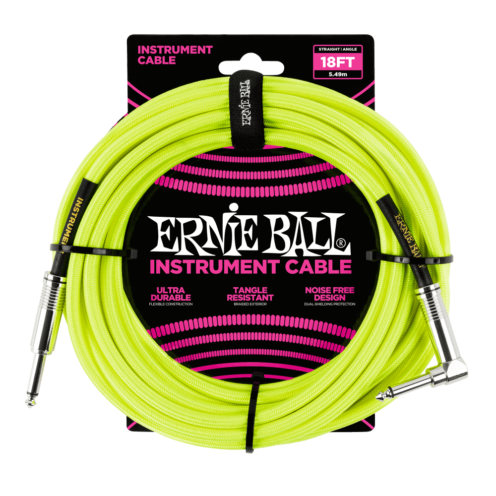Ernie Ball Braided Instrument Cable 18' - Neon Yellow - Walt Grace Vintage